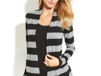 INC layers a shimmering, metallic striped cardigan and