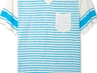 Horizontal stripes and a v-neckline on this t-shirt by