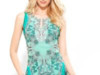 An exotic print takes INC's versatile tunic top to the