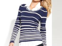 INC's striped sweater lends a layered look to your