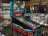 This is a very nice Independence Day pinball machine.