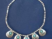 Indian Bear Claw Necklace ** Silver **  Turquoise set