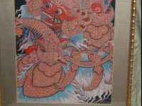 Indonesian oil painting of the Barong,mythical