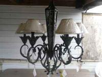 Hanging Forged Bronze Chandelier, with 3 lights for $