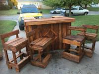 pallet wood bar and 4 sturdy bar stools, new, never