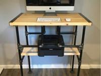 For sale is a one of kind industrial standing desk.