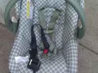 Infant car seat, like new. With base. Green and tan.