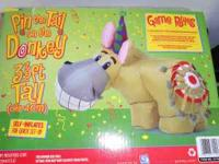 3 ft tall, inflatable donkey game with a bulls eye!