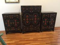 Inlaid Chinese Cabinets : 3 pieces. Black lacquer