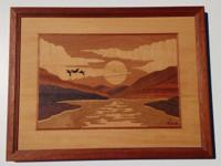 Inlaid wood art for your wall. Beautiful detailed work.
