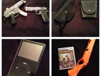 Wii game and gun $20 BB guns $15 each gun and handcuff