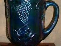IRIDESCENT BLUE CARNIVAL GLASS PITCHER Blue - Purple