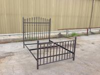 Iron bed - headboard, footboard and frame included. We