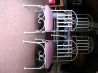 Description SET OF FOUR iron chairs WITH RED AND WHITE