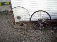 old iron wheels good for decoration 75 bucks pair must