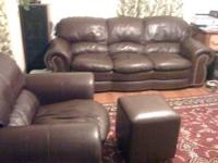 The Italian Leather Living Room is in great shape as