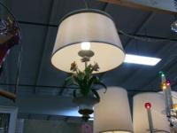 Beautiful, unique hanging lamp with tole flowers. Tole