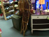 Large, unique wooden snow shoes. Excellent for display