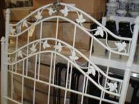 Ivory white metal full size bed frame, rail has leaf
