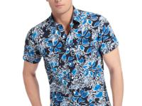 Bold blue flowers give this Izod shirt a tropical