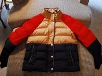 J.Crew down filled coat; zipper and brass snap closure,