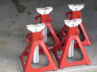 "4 jack stands. Base 101/2"" x 111/2"". Height variety"