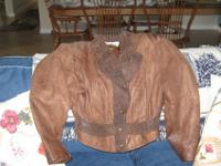 1 ladies size small brown leather jacket1 ladies size