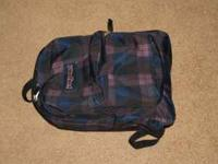 smaller (only two pockets) plaid Jansport backpack,