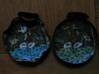 JAPANESE CLOISONNE. Two small dishes enameled on