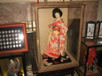 2 Foot Tall, antique looking Geisha doll Case Measures