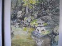 Japanese Garden water color signed Clyde Keller, Jr.,