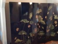 Hand painted Japanese Folding Screen with crane and