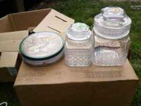 2 decorative glass jars 2 decorative tins small wooden