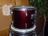 T.J. Jazz drum 5 pc. set- very good condition-red ( 2)