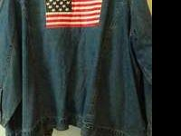 $250.00 Great Utility Jean Jacket, With Flag On