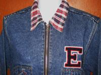 ESPRIT Denim Cropped Jean Jacket With Plaid Trim and