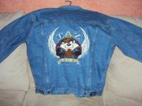 Unisex Looney Toons jean jacket with leather trim.