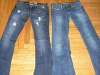 Two pairs of lightly worn Hollister jeans, size 0. Four