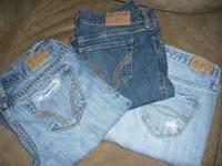 Two pairs of lightly worn Hollister jeans and one pair