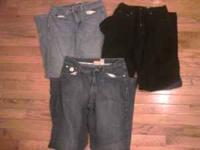 3 pairs of Jeans black pair Eddie bauer Size 8 Please
