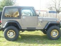 For sale is a 1989 Jeep Wrangler with a Golen 4.6 L