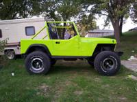 "1987 jeep wrangler new paint with new 4"" rough country"