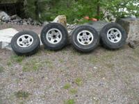 Stock wheels from a TJ model jeep. These will likewise