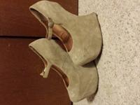 Tan, size 7, Jeffrey Campbell heel-less wedgesGreat