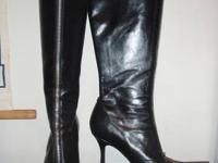 Jessica Simpson black leather, over-the-knee boots,