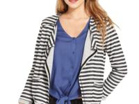 Part jacket, part cardigan, Jessica Simpson's striped