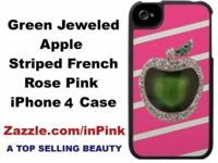 Awesome Pink iPhone Case. A jeweled Green Apple on a