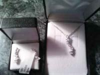 Diamond Journey necklace and earring set (for pierced