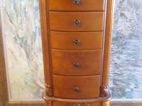 LOVELY JEWELRY ARMOIRE  5 DRAWERS  SIDE OPENINGS FOR