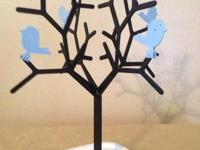 "Metal Jewelry Tree (almost 12"" tall from base to"